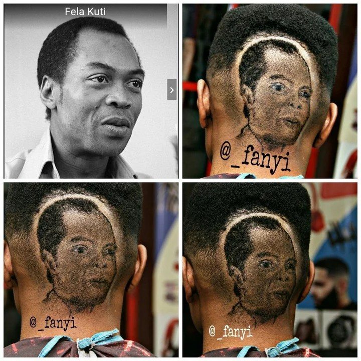 Barber Creates Fela Face On Client Head