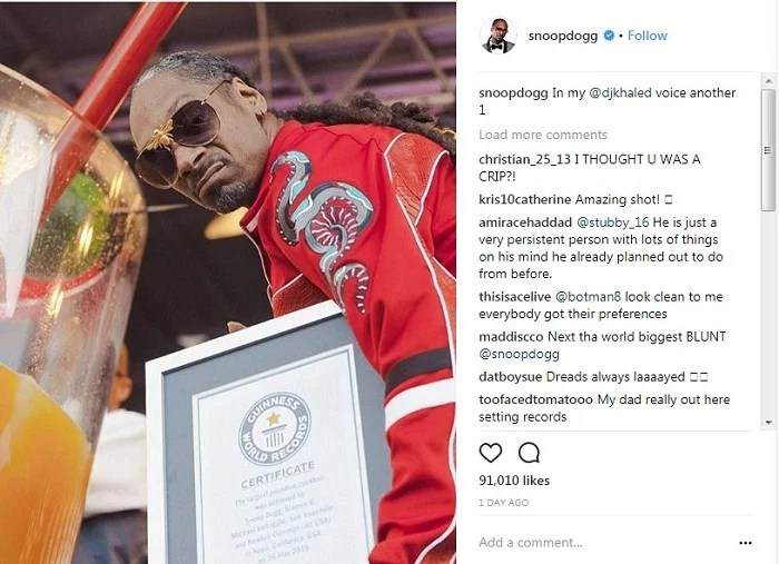 Snoop Dogg Breaks Guinness World Record For Largest Gin And Juice 00