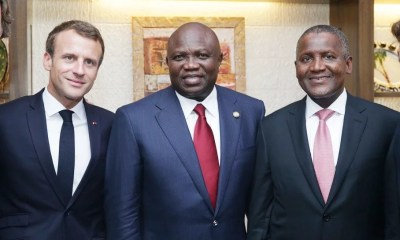 Emmanuel Macron, Akinwumi Ambode and Aliko Dangote