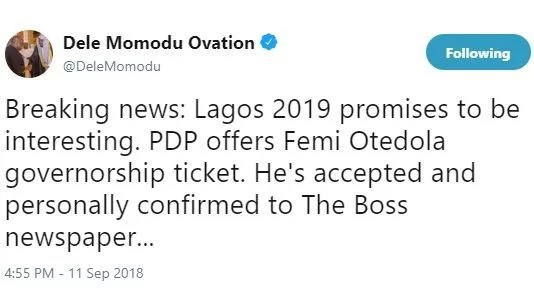 PDP Nominates Femi Otedola As the Party Governorship Candidate in 2019