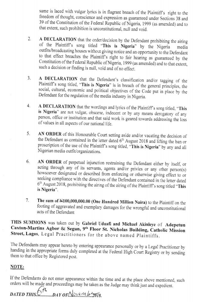 Falz NBC Court Documents 00