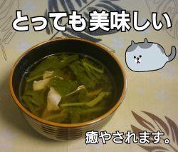 かぶの葉でコンソメスープ