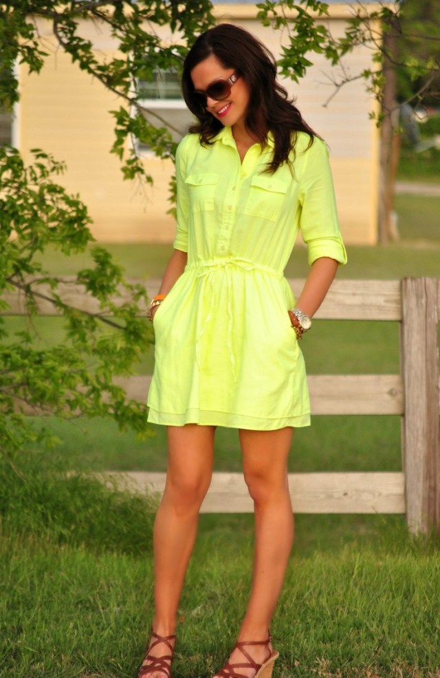 Neon Yellow Dress, Wedges