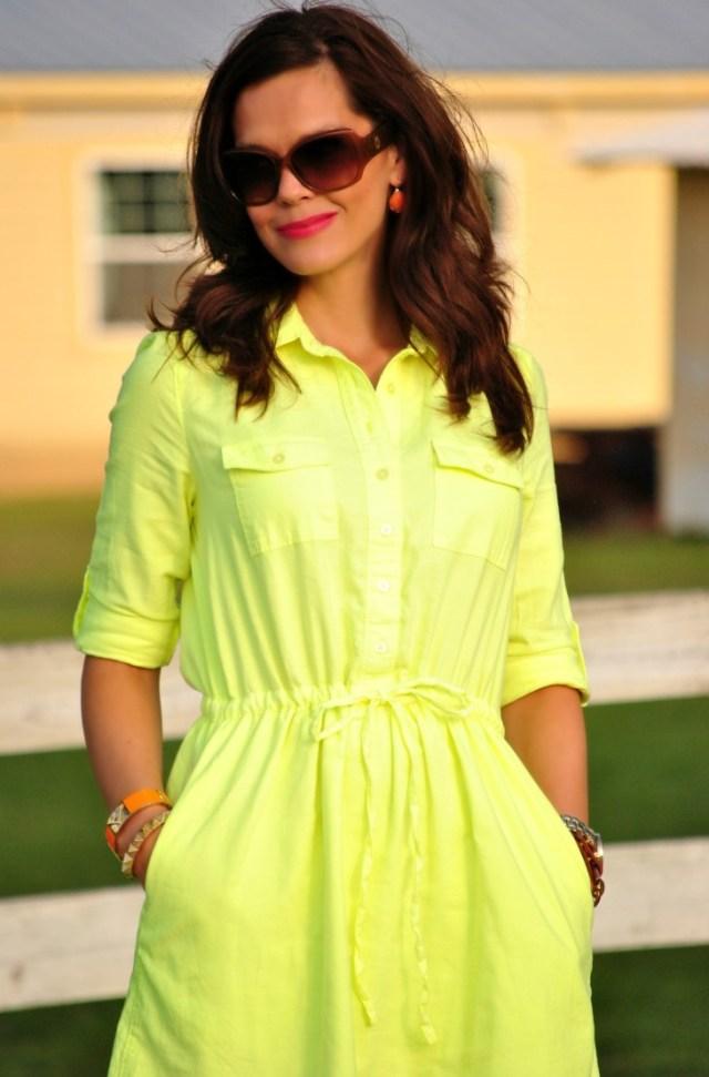 Neon Yellow Shirtdress
