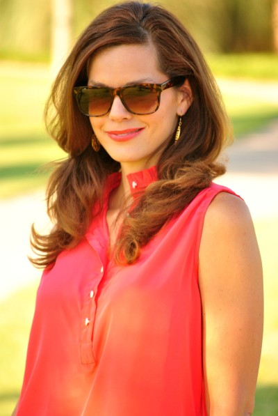 Coral Blouse Gold Earrings