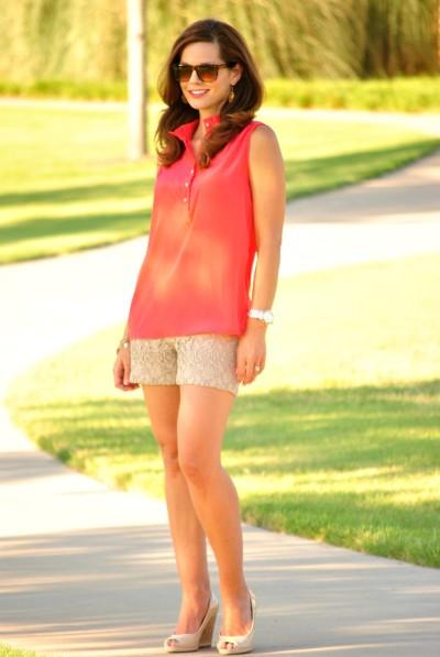Coral Blouse Lace Shorts 2