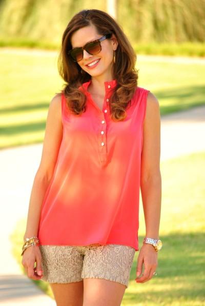 Coral Blouse Lace Shorts 3
