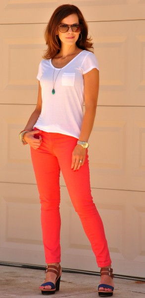 Coral Jeans White Tee