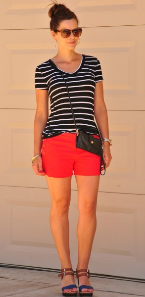 Red Shorts Striped Tee