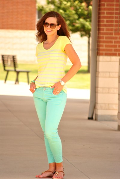Mint Jeans Yellow Tee Sandals