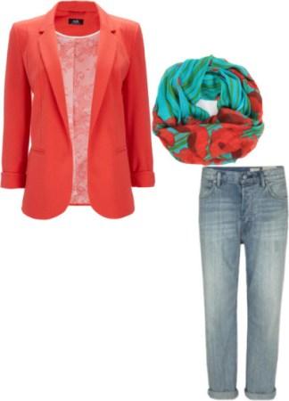 Coral Blazer, Turquoise Scarf, Boyfriend Jeans
