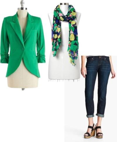 Green Blazer, Floral Scarf, Boyfriend Jeans