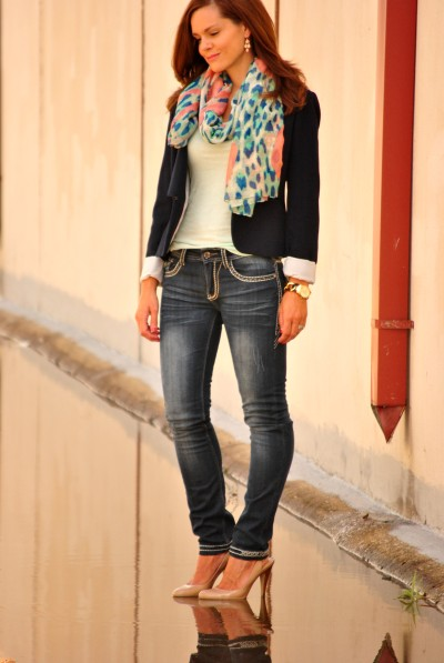 Navy Blazer Scarf Jeans