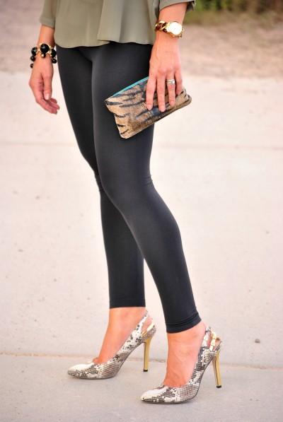 Olive Blouse Black Leggings
