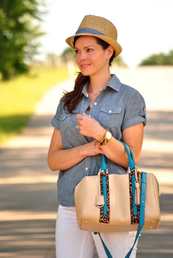 white-jeans-chambray-fedora-stripes