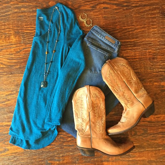 teal-sweater-jeans-cowboy-boots-outfit