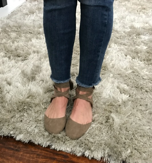 frayed hems and ballet flats