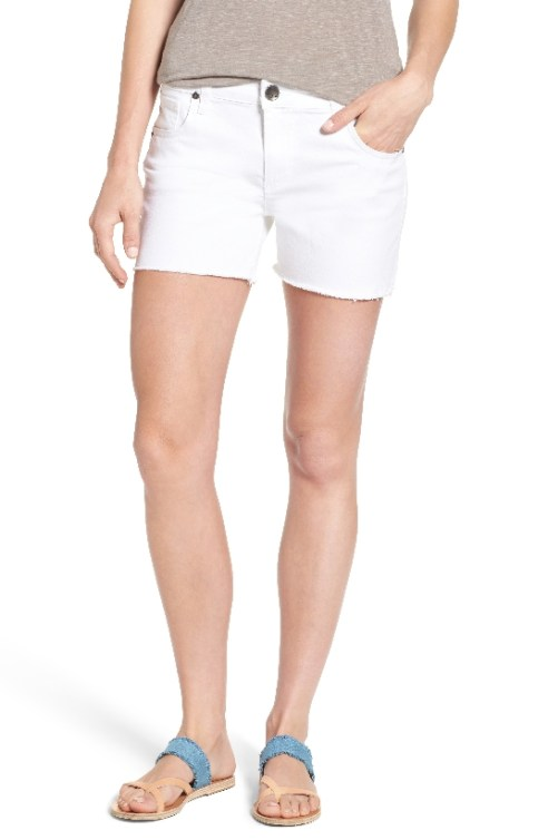 white-fray-hem-shorts