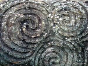 Close up of Neolithic rock art on the entrance stone at Newgrange