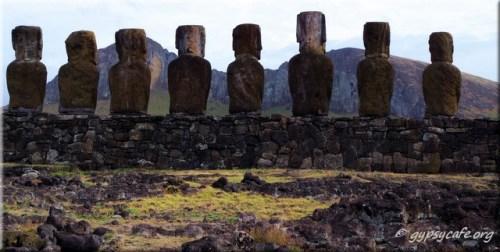 Tongariki Moai facing Rano Raraku