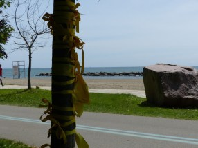 Participants tied yellow ribbons in memory