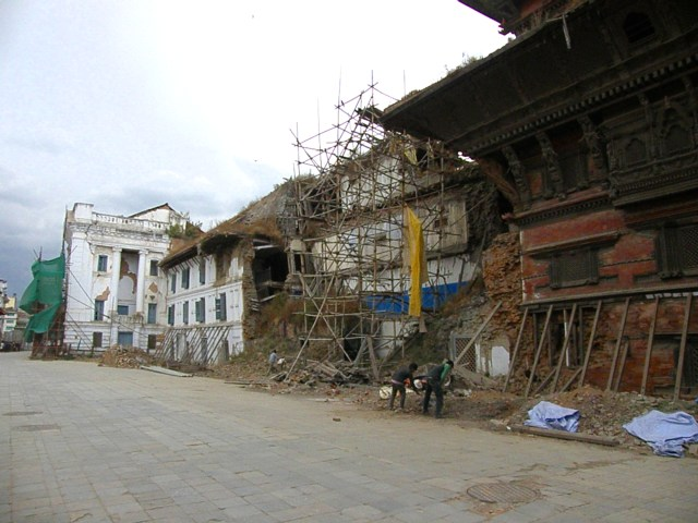 earthquake damage, durbar square, kathmandu, nepal