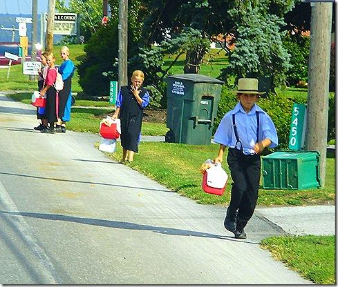 Amish boy running