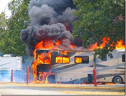 RV motorhome fire