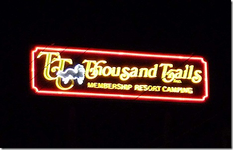 Thousand Trails sign night
