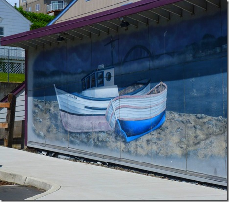 Beached boats mural