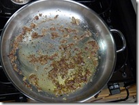 Skillet with anchovies added