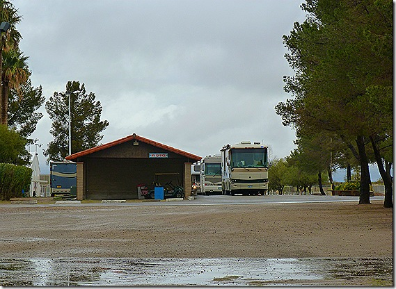 Fairgrounds RV park arriving rigs 2