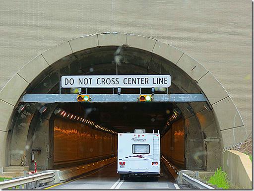 RV entering tunnel