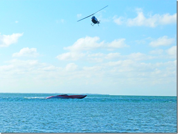 Helicopter and boat