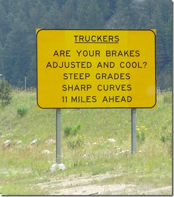 Truck brakes warning sign