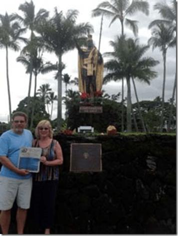 Russ Debbie Kamehameha Monument Hilo, Hawaii (Big Island)