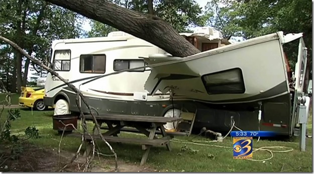 RV crushed by tree