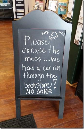 Bookstore car sign