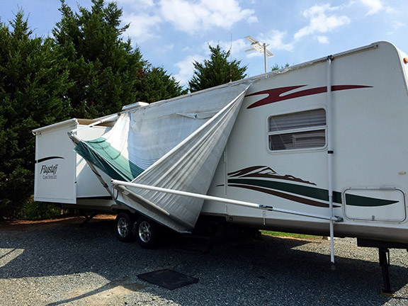 Torn trailer awning small