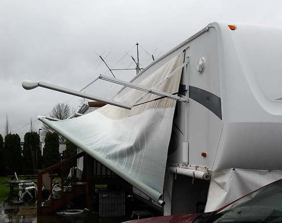 Shattered awning