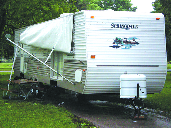Torn RV awning