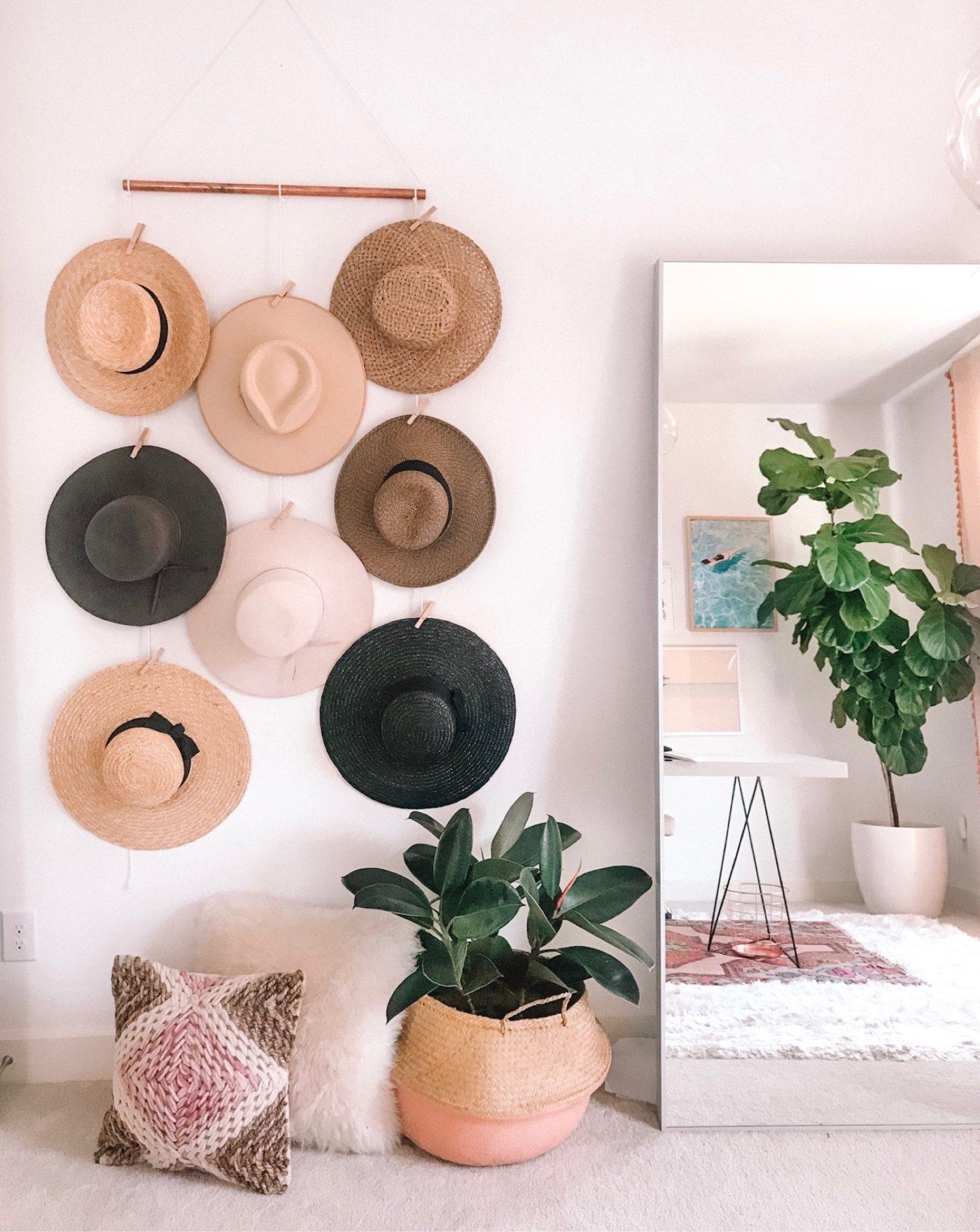 organize hats on this diy hat rack