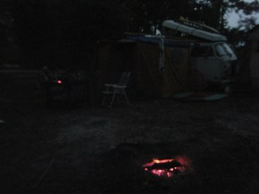 Campfire at Night at Primitive Spot #3 Buccaneer SP in Miss