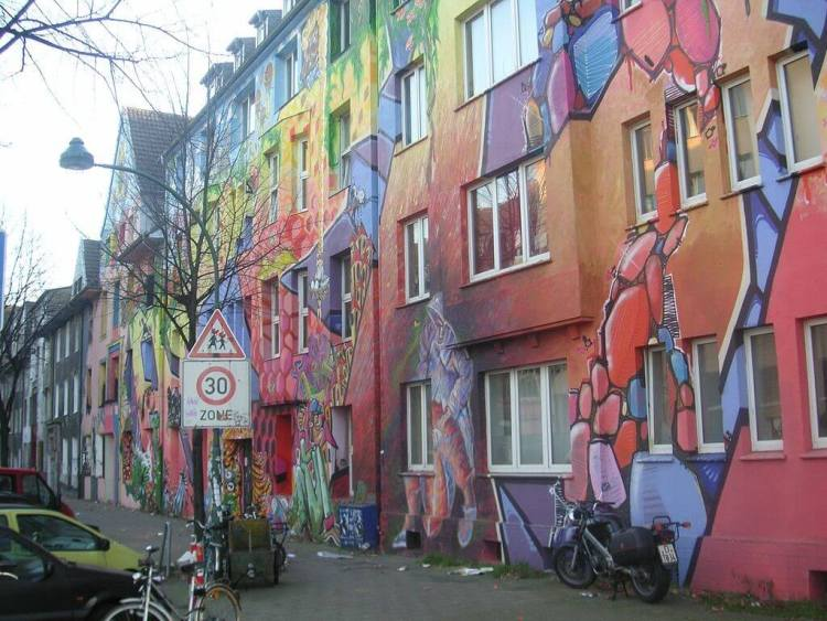Kiefernstrasse, Dusseldorf, Germany, a rich history of industry, anarchy, and street art.
