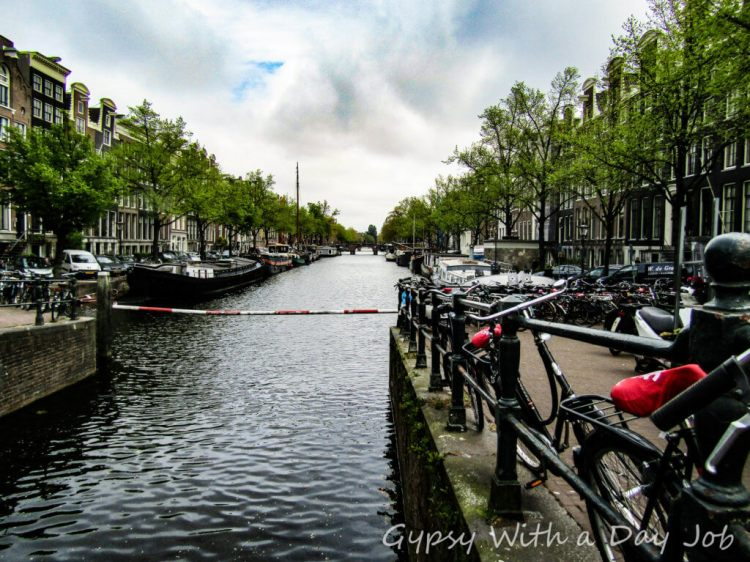 Street to canal view, Amsterdam.