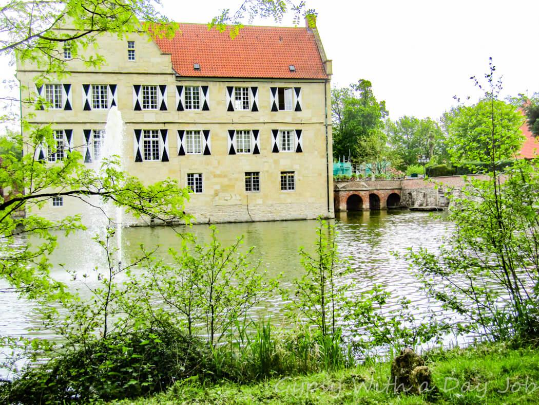 Hulshoff Castle, Burg Hulshoff, in Muensterland, Germany, in an idyllic setting.