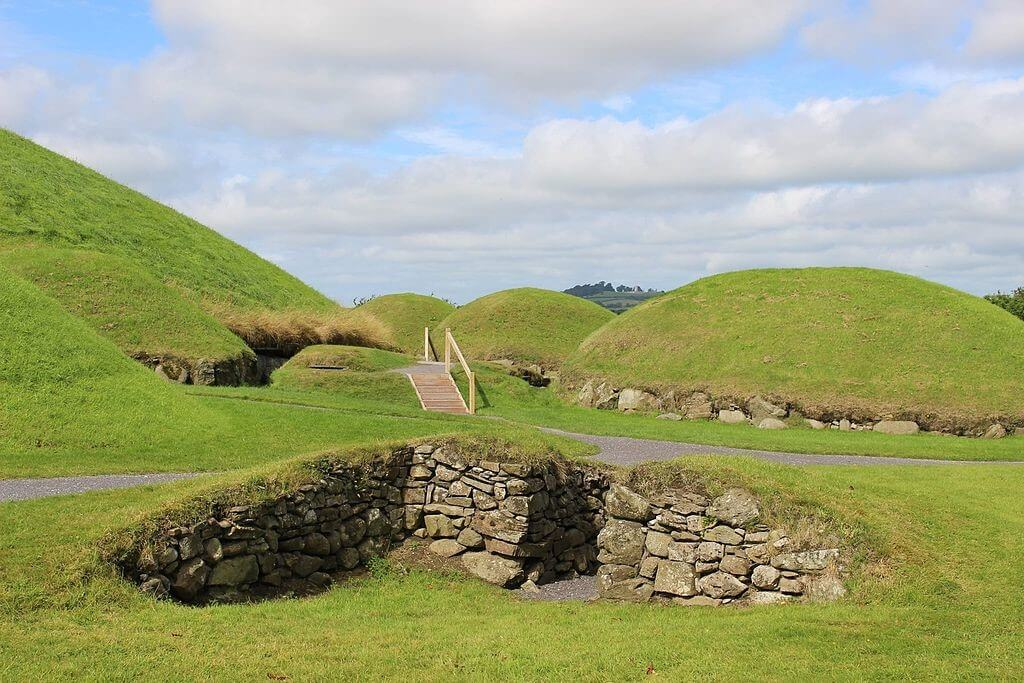 Exploring Irish countryside scenes, Knowth Passage Tomb.