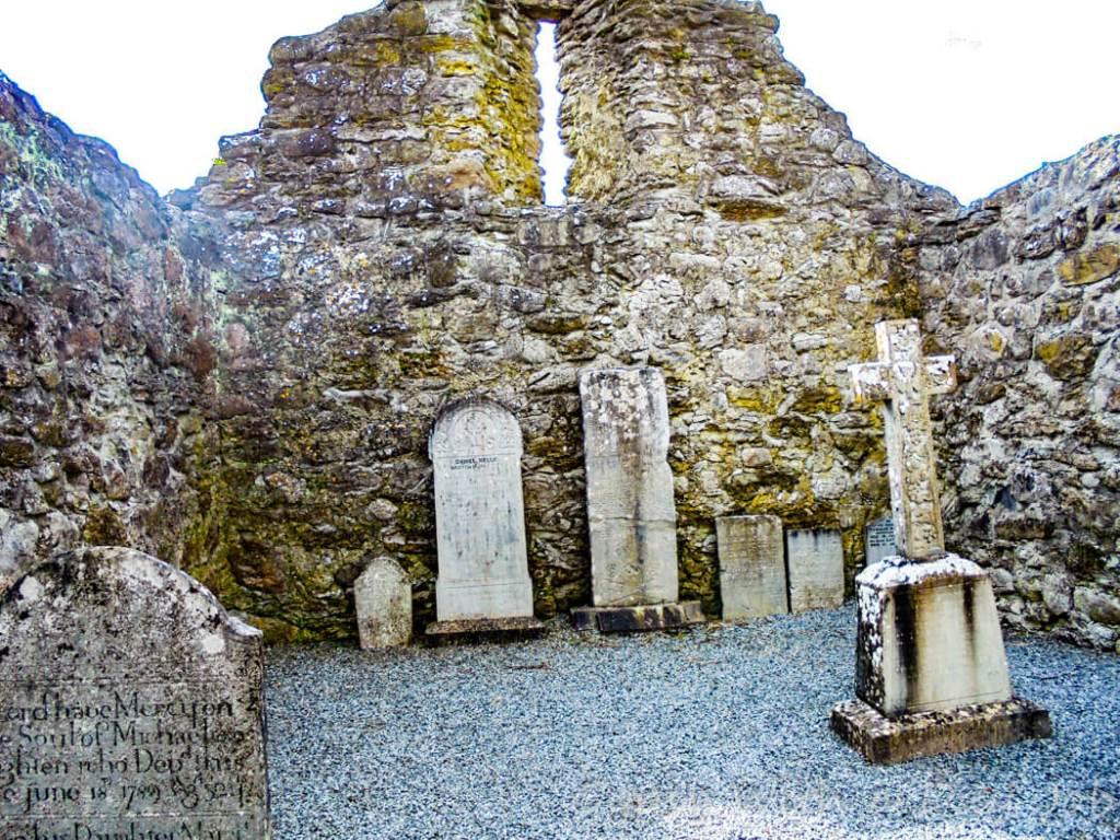 Exploring Irish countryside scenes, Drum Monastery ruins.