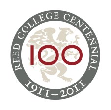The Reed Centennial brand, which I designed to underline both the college's history and tradition of academic rigor, and, with a touch of sans serif, its firm foundation today.