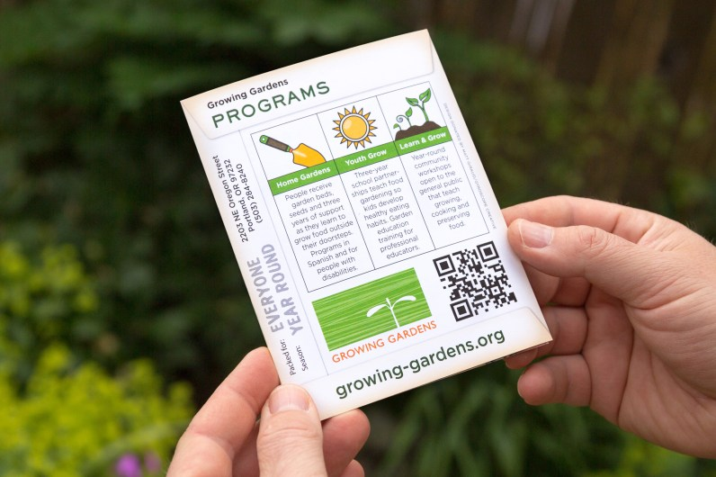 "Growing Gardens ""seed packet"" brochure (back cover) | Creative direction by Matt Giraud, Gyroscope Creative"
